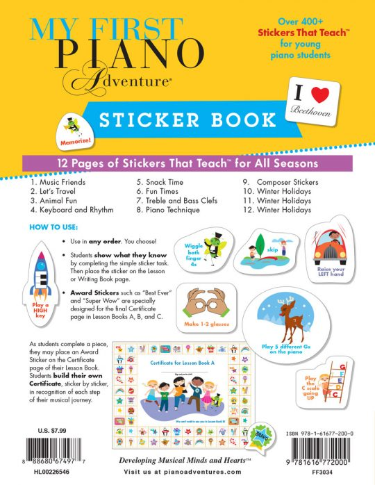 My First Piano Adventure Sticker Book